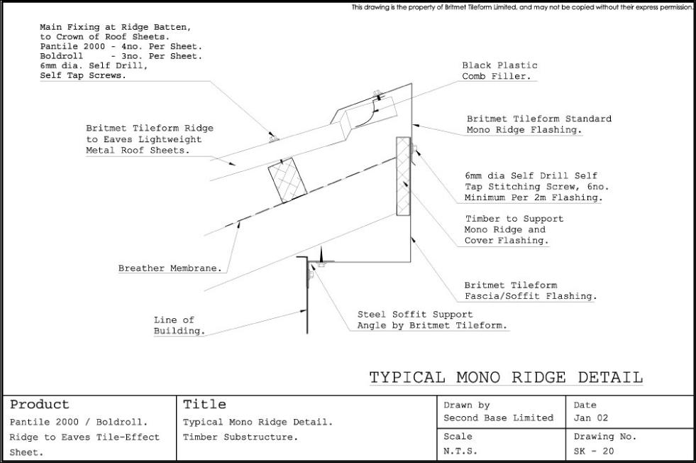 Technical Drawings for Britmet Pantile 2000 Roofing Tiles