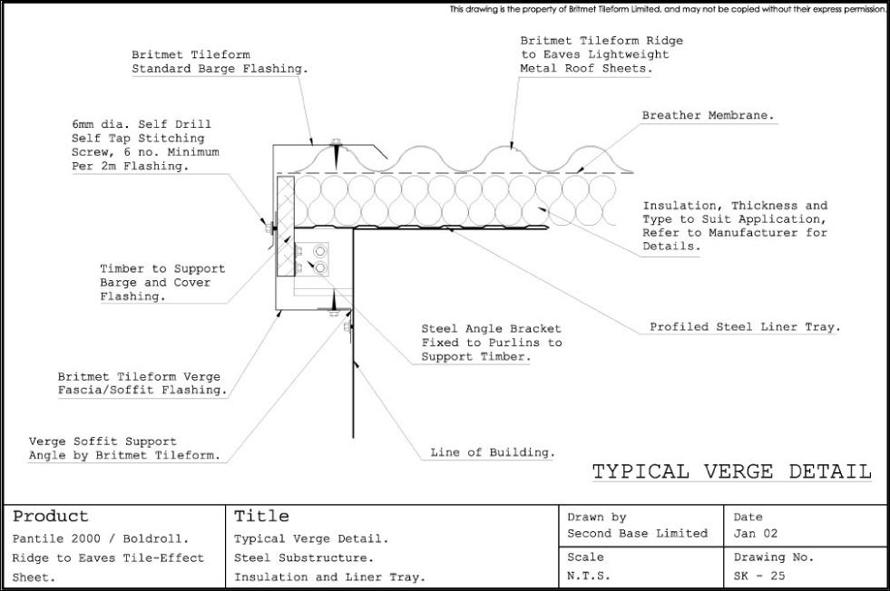 Standard details drawing r002 wall rail with out bottom level technical drawings for britmet pantile 2000 roofing tiles standard details drawing sk 025 typical verge detail steel substructure insulation and liner tray sciox Image collections