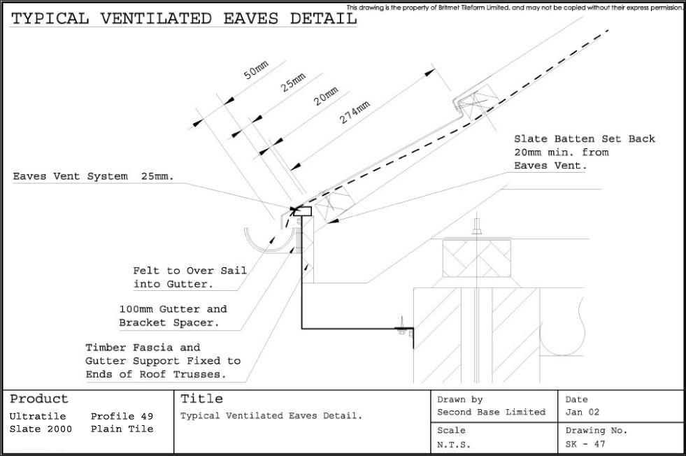 Technical Drawings For Britmet Slate 2000 Roofing Tiles