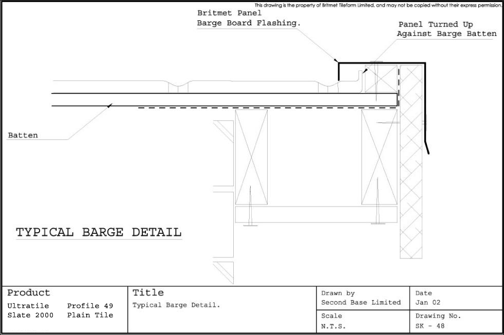 Technical Drawings For Britmet Slate 2000 Roofing Tiles